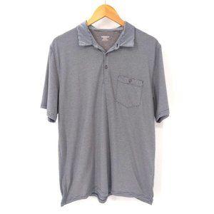 Toad & Co Polo Shirt Mens L Blue White Stripe